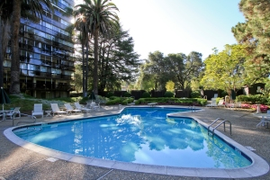 Enjoy a resort like living - Private court yard with a pool surrounded by mature trees.